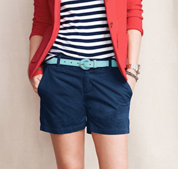 red blazer with striped tee and navy blue shorts