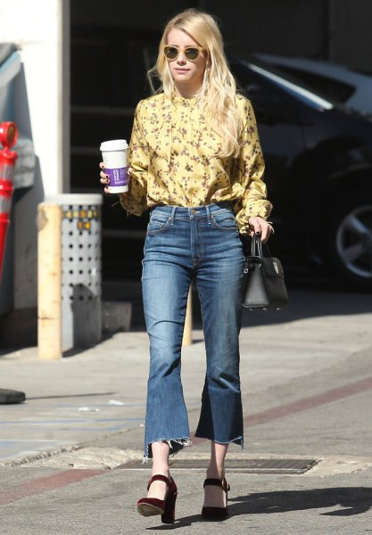 yellow floral printed blouse with extended cropped jeans