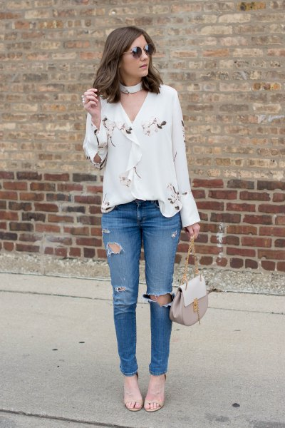 white choker neck blouse with ripped jeans