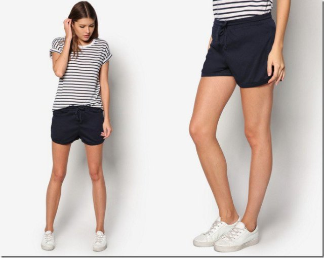 black and white striped t-shirt with black fleece mini shorts
