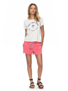 white print tee with pink fleece shorts