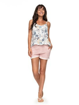 white flowers with embroidered vest with pink fleece shorts