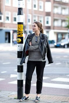 gray casual fit shirt and black leather jacket