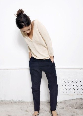pale pink v-shirt with black chinos