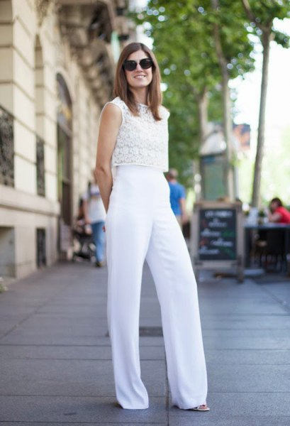 white lace sleeveless top with palazzo pants