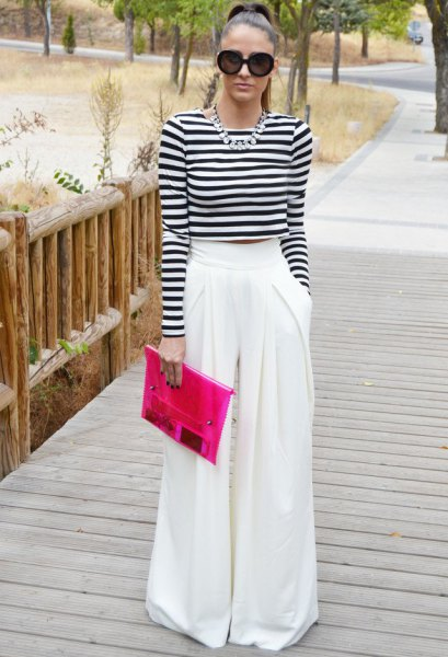 black and white striped long sleeve cropped tee with palazzo pants