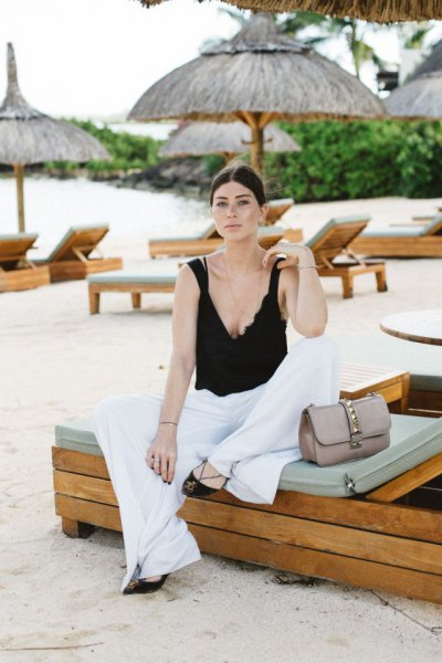 black deep v-top with top with white palazzo bags