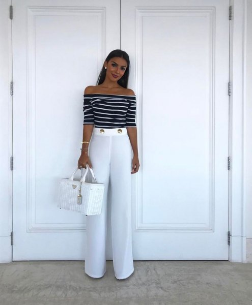 black and white striped from the shoulder top