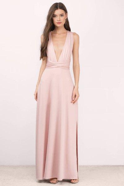 blush pink deep maxi dress in v-neck