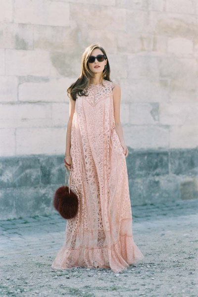 blush lace extended floor length dress