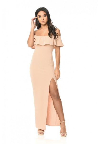 blush of shoulder ruffle high split maxi dress