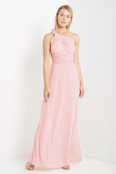 single strap halter collected midi maxi blush dress