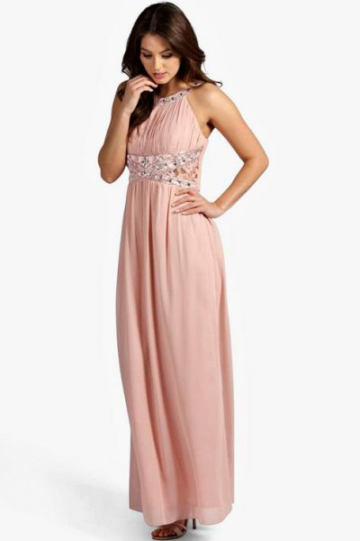 blush maxi dress with silver sequin details