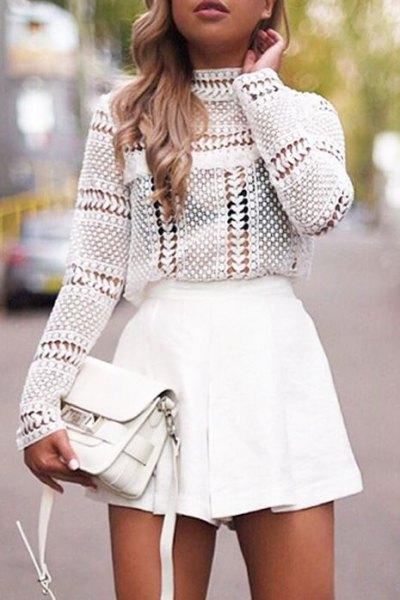 white crocheted mock neck top with mini skater skirt