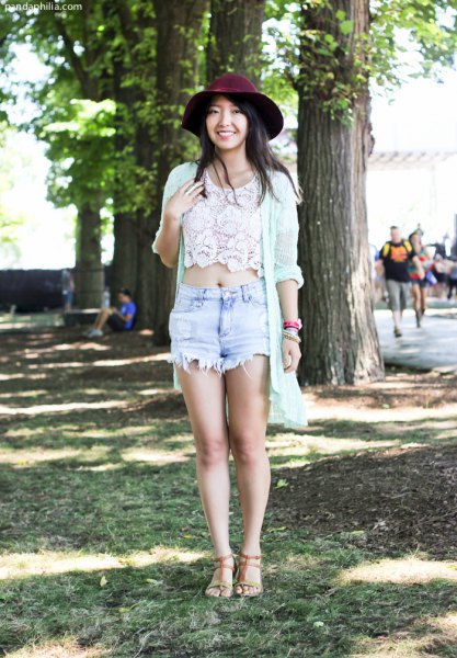 white lace crop with long cardigan and black felt hat