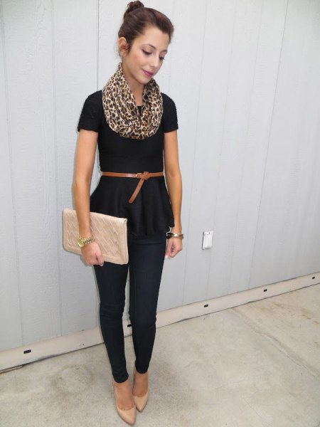 black belt with short sleeve peplum blouse with pink clutch bag