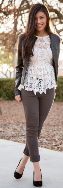 white lace top with gray leather jacket