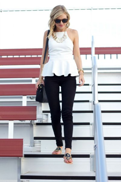 white ugly peplum blouse with black skinny pants