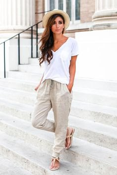 white v-shirt with pale pink linen elasticated waist pants
