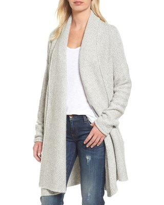 gray shawl collar shirt with white vest top and dark blue skinny jeans