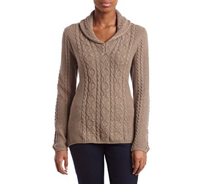 crepe cable knit shawl collar sweater with black skinny jeans