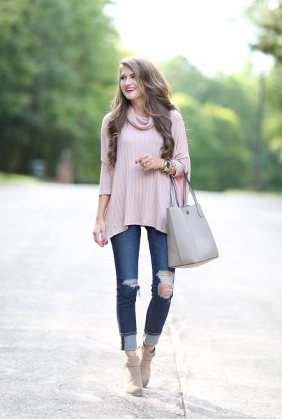 light pink ribbed poncho shirt with ribbed cuffed jeans