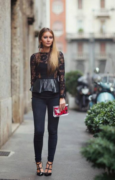 black leather and lace with long sleeve peplum top with skinny pants