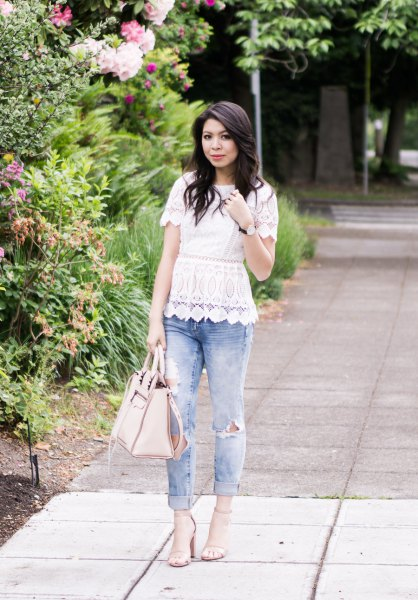 white scalloped lace peplum top with cuffed boyfriend jeans