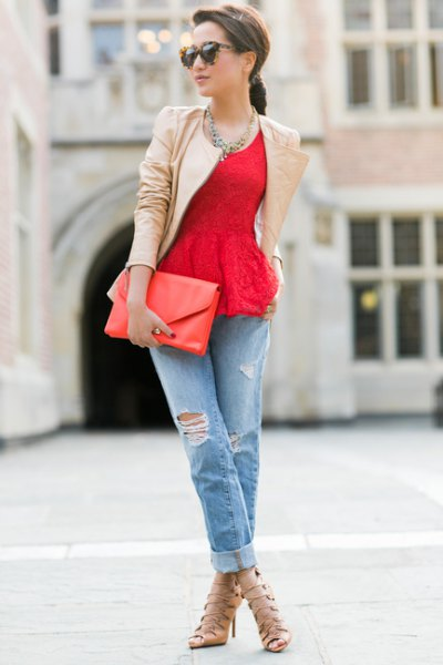 red lace peplum top with pink pink leather jacket