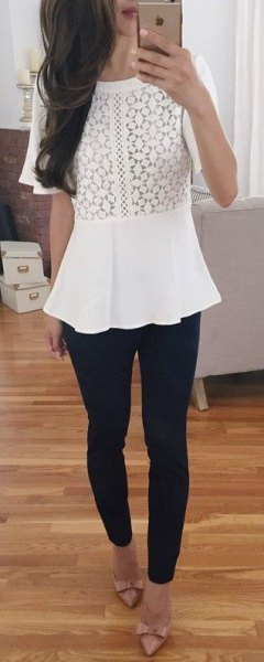 white peplum top with black skinny jeans and strap heels