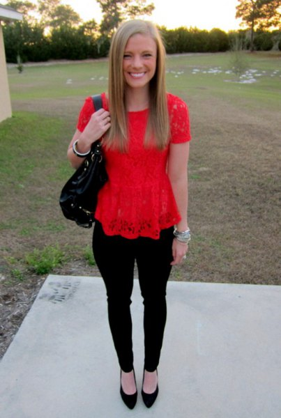 red lace top with black ballet flats