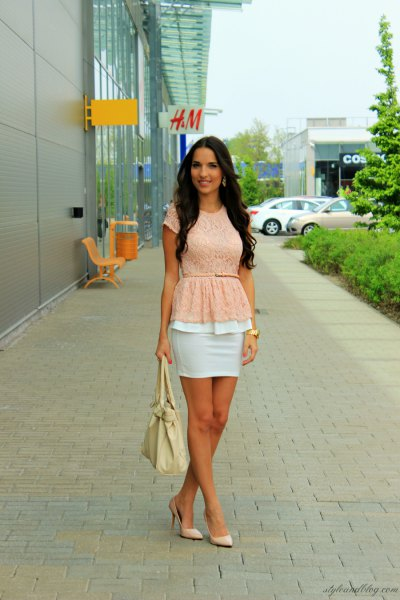 light yellow belt top with white mini bodycon skirt