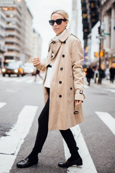 white sweater neck with beige trench
