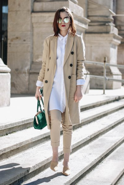 white shirt dress and beige cropped chinos