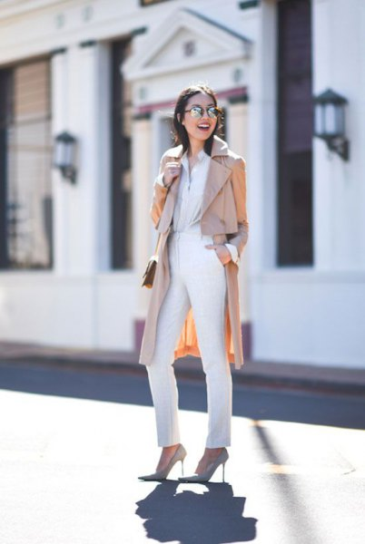 beige long digging coat with all white outfit