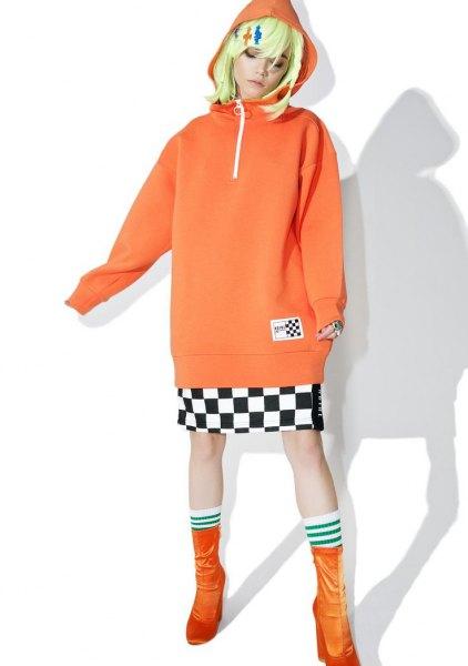 pink half zip with checkered mini skirt