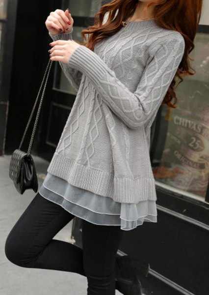 gray cable knit tunic sweater with chiffon semi sheer tunic top