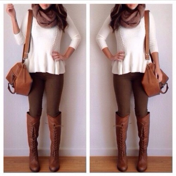 white ribbed sweater with brown skinny jeans and knee-high boots