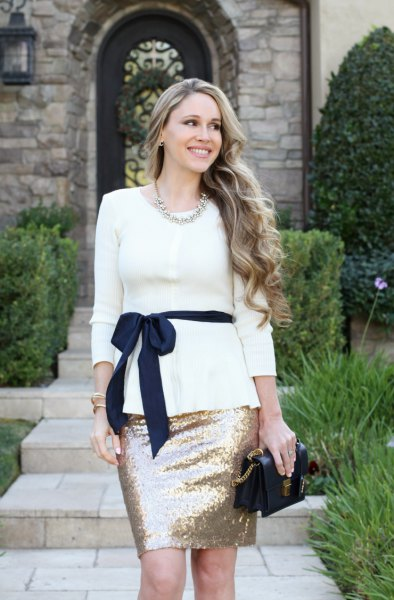 white belt peplum sweater with pink gold sequin mini skirt