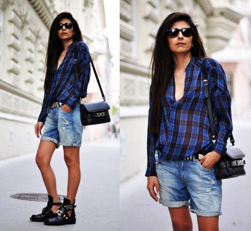 blue and black checkered shirt with cuffed boyfriend shorts