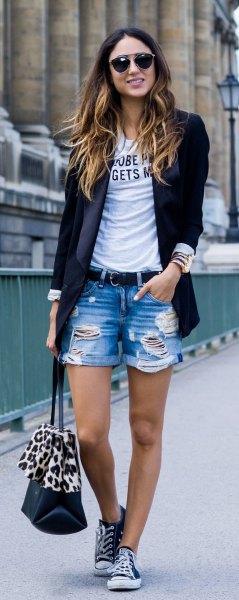 black blazer with print shirt and boy's shorts
