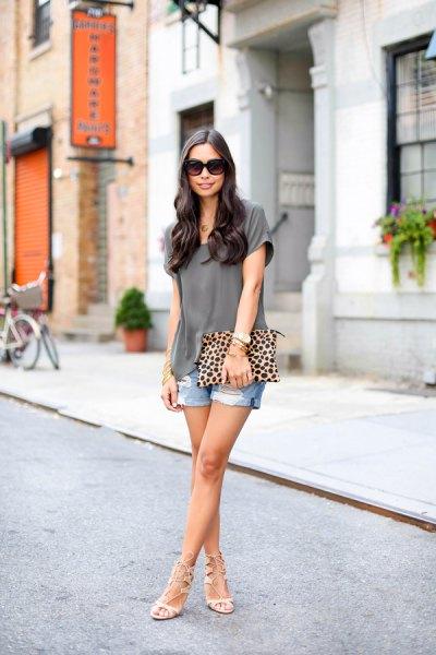 gray chiffon blouse with boyfriend shorts