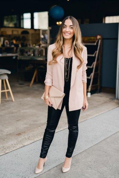 light pink boyfriend blazer with black leather leggings
