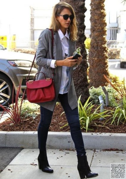 gray boyfriend blazer with white button up shirt