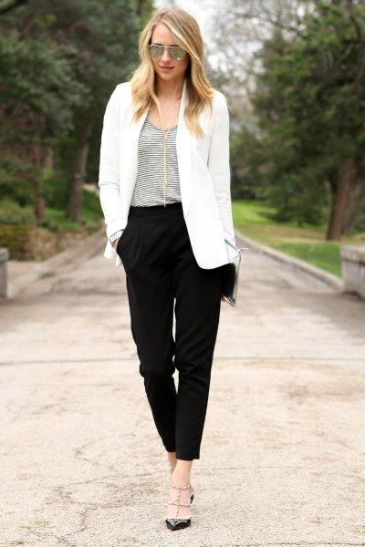 white oversized blazer with black chinos
