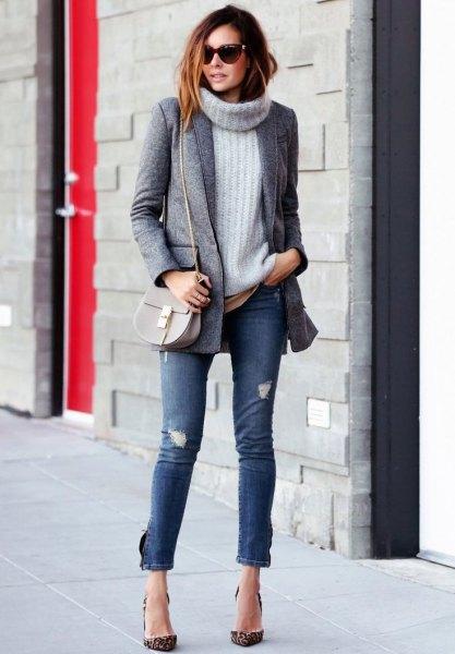 gray tweed boyfriend blazer with back stocking rib chunky sweater