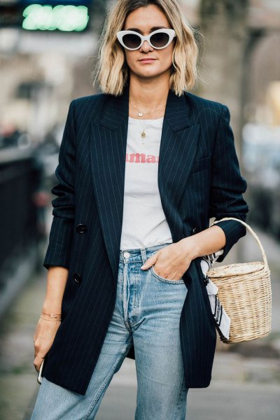 navy striped oversized blazer with white tee