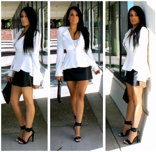 white blazer with mini skirt in black leather