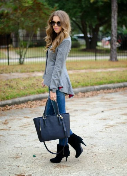 gray peplum blazer with black suede ankle shoes