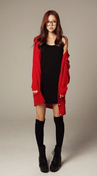 red long cardigan with black mini shift dress